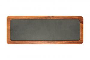 Piatto in ardesia naturale con base e bordo in legno di acacia cm.33x12x1,6h