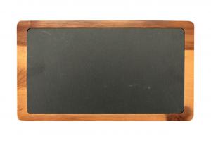 Piatto in ardesia naturale con base e bordo in legno di acacia cm.35x20x1,6h