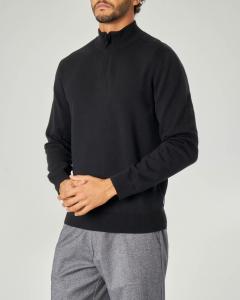 Maglia lupetto nera in cotone e lana con zip nascosta