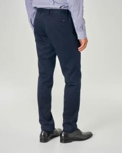 Pantalone chino blu in cotone micro-armatura