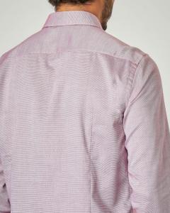 Camicia bordeaux microarmatura con colletto all'italiana