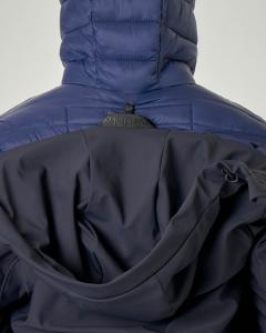 Parka blu in tessuto stretch con piumino interno staccabile