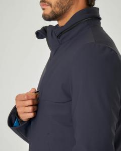 Giacca blu in tessuto stretch con cappuccio estraibile