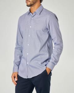 Camicia blu microquadretto con collo all'italiana