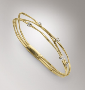 BRACCIALE BICEGO MINI MARRAKECH IN ORO GIALLO 18KT TRE FILI CON  DIAMANTI