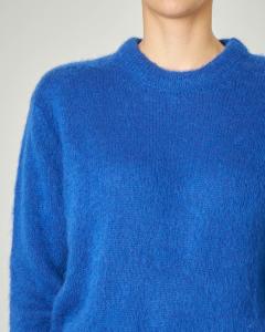 Maglia girocollo blu royal in mohair