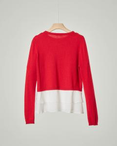 Maglia rossa girocollo con finta camicia 8-14 anni