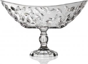 Centrotavola ovale in vetro con piede RCR Laurus cm.34x21,6x22,5h