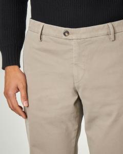 Pantalone chino beige in tricotina di cotone