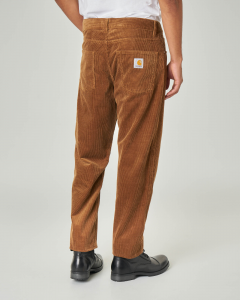 Pantalone carrot-fit color cammello in velluto