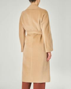 Cappotto lungo color cammello in alpaca e lana con cintura in vita