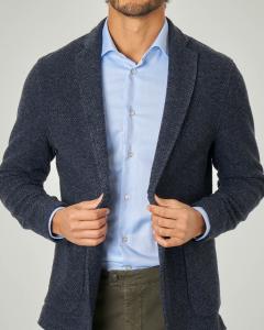 Giacca maglia in micro-fantasia blu