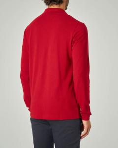 Polo rossa a manica lunga con taschino