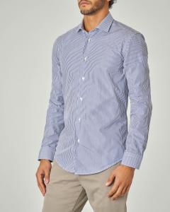 Camicia a bastoncino blu e bianco con collo alla francese