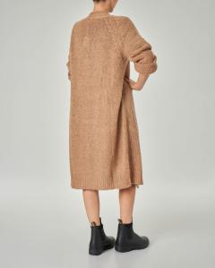 Maxi cardigan color cammello senza bottoni in lana misto mohair