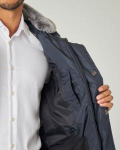 Field Jacket Aiptek NB blu in tessuto taffetà cangiante e pelliccia sul collo