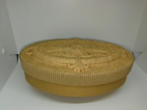 SCATOLA CARTONE OVALE CON DECORAZIONE A RILIEVO 25 X 16,5 cm - ALTEZZA 6 cm