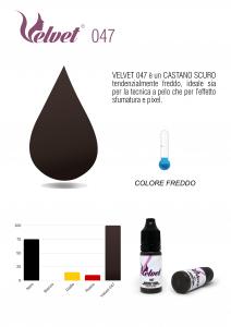 VELVET 047 - Colore per trucco semipermanente (PMU) - Consigliato per SOPRACCIGLIA   10 ML