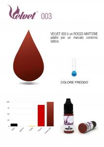 VELVET 003 - Colore per trucco semipermanente (PMU) - Consigliato per LABBRA | 10 ML