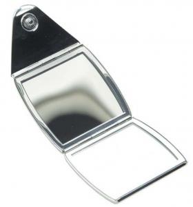 Specchietto con chiusura a bottone placcato argento cm.6,5x6,5x1,5h