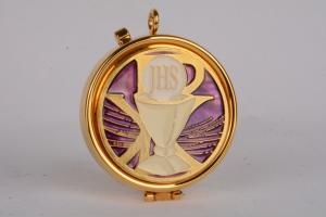 Teca eucaristica con disegno smaltato CAL1805