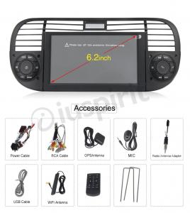 ANDROID autoradio navigatore per Fiat 500 Fiat Abarth 500 2007-2015 GPS DVD WI-FI Bluetooth MirrorLink Octa-Core 4GB RAM 32GB ROM