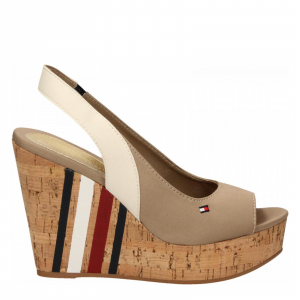 SLING BACK WEDGE SANDAL STRIPES