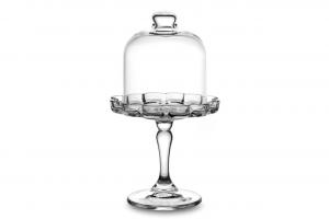 Alzata pasticceria in vetro con cupola per dolci cm.19,8h diam.11