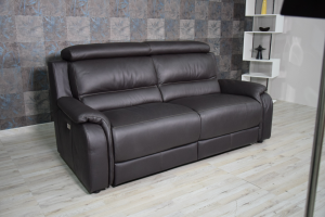 HOMER Divano relax nero in pelle 3 posti con meccanismi recliner elettrici e poggiatesta regolabili