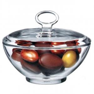 Scatola bonbon portadolci in vetro con coperchio cm.9h diam.13