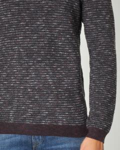 Maglia bordeaux e grigio melange girocollo