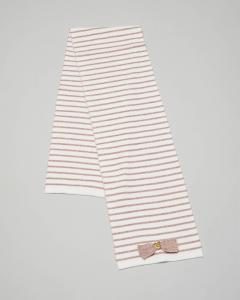 Sciarpa bianca in misto cotone e lana con righe rosa
