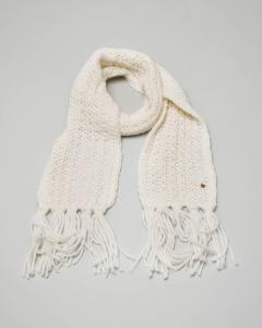 Sciarpa nera intrecciata in misto lana con frange