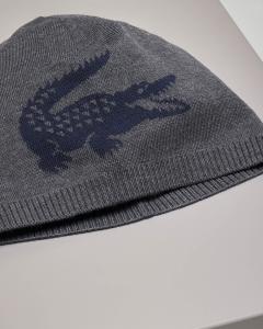 Berretto grigio antracite logato in lana