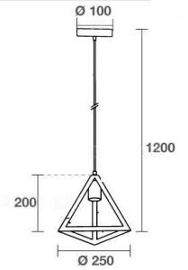 LAMPADARIO A SOSPENSIONE IN METALLO MOD. TRANGLE VT-7141