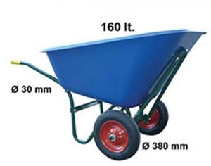 Carriola con cassone in plastica da 160 lt. con due ruote
