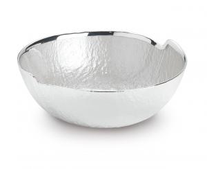 Ciotola tonda in vetro argento con interno madreperla cm.7h diam.18