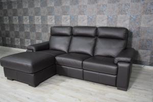 FRANCE - Piccolo divano con penisola destra in pelle a 3 posti di cui uno relax con movimento recliner elettrico, schienale alto