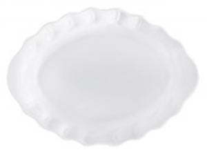 Piatto ovale in Porcellana Bianca stile Barocco cm.34x26x5h
