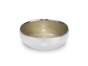 Ciotola tonda in vetro argento con interno oro cm.7,5h diam.32