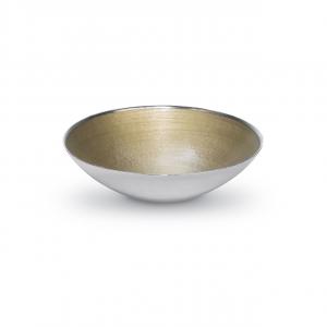 Centrotavola fruttiera tonda in vetro argento con interno oro cm.9h diam.33,5