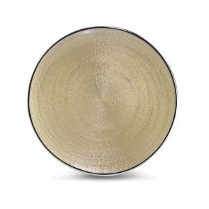 Vassoio piatto tondo in vetro argento interno oro cm.diam.37