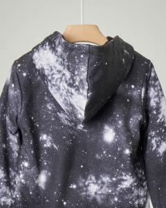 Felpa stampa tema galassia reversibile in nero con chiusura a zip e cappuccio 3-7 anni