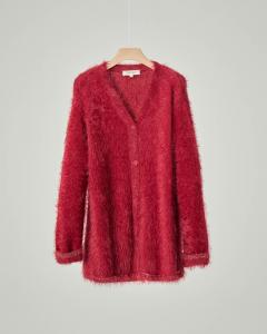 Maxi cardigan color rubino in tessuto effetto mohair con profili in lurex color oro 12-14 anni