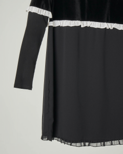 Abito nero in georgettedi viscosa con rouches a contrasto e inserto in velluto 12-16 anni
