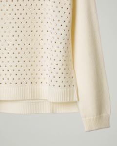 Maglia girocollo color avorio in tessuto misto lana con micro borchie applicate oro 8-10 anni