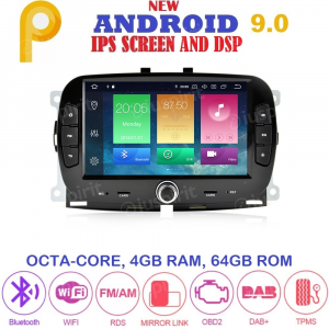 ANDROID 9.0 autoradio navigatore per Fiat 500 2016 2017 2018 GPS SD WI-FI Bluetooth MirrorLink