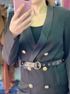 Giacca bottoni Oro e cintura VickyMood Taglia M