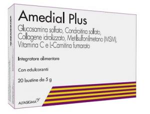 AMEDIAL PLUS 20 BUSTINE: INTEGRATORE ALIMENTARE A BASE DI GLUCOSMINA, MSM, COLLAGENE, CONDROITINA UTILE IN CASO DI DOLORI ARTICOLARI