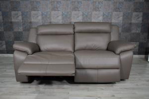 DEON - Divano relax manuale in pelle di colore grigio oliva a 3 posti con meccanismi recliner